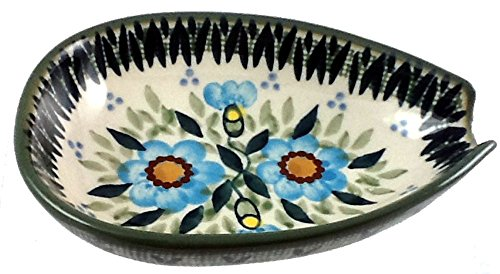 Elegant Spoon Rest Condiment Bowl Turquoise Floral - Polish Pottery Stoneware (Polish Stoneware Spoon Rest compare prices)