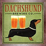 FRAMED Dachshund Brewing Co by Ryan Fowler 12x12 Art Print Poster Sign Dog Beer Animals