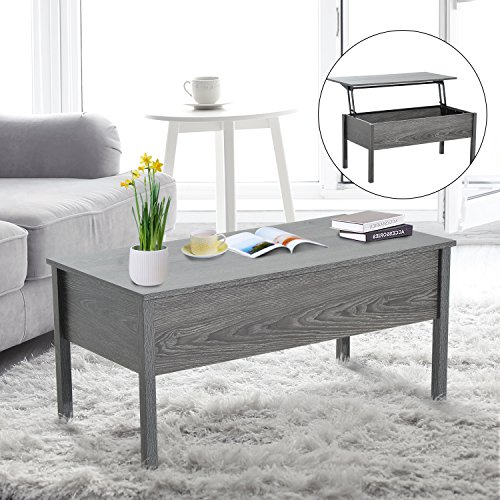 HomCom Lift Top Storage Coffee Table - Grey
