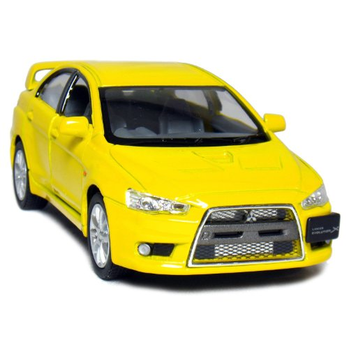 "5"" 2008 Mitsubishi Lancer Evolution X 1:36 Scale (Yellow) - 1"