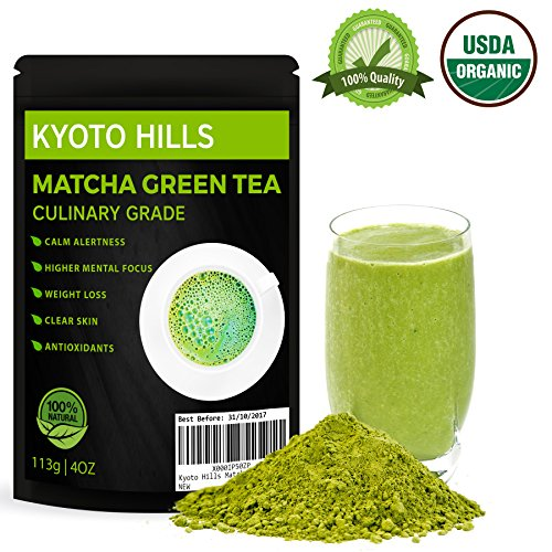 Japanese Matcha Green Tea Powder KYOTO HILLS 113 gram for everyday use Pure Natural Culinary Grade for Latte, Cooking, Smoothies & Baking