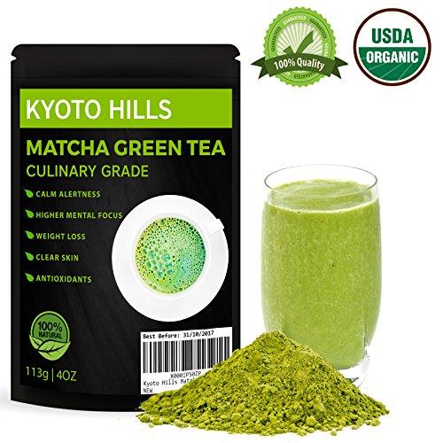 El té verde japonés Matcha Orgánica Polvo 113g de té , café con leche , cócteles, batidos , Panadería y Cocina para una vida saludable y pérdida de peso