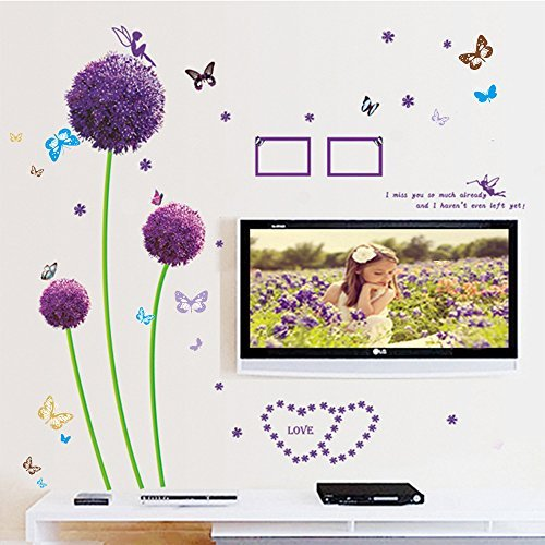 Dagou Dandelion and Butterfly Wall Stickers & Murals Wall Decals Wallpaper Wall Decorate and Removable Wall Décor Decorative Painting Supplies & Wall Treatments Luminous Stickers for Kids Living Room Bedroom Wallpops Decal (Decal Wallpaper compare prices)