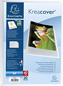Exacompta Kreacover Chromaline Porte-vues semi rigide A4 40 vues Blanc transparent