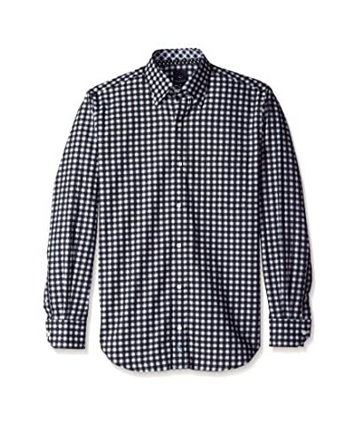 Tailorbyrd Men's Check Spread Collar Sport Shirt with Contrast Cuff
