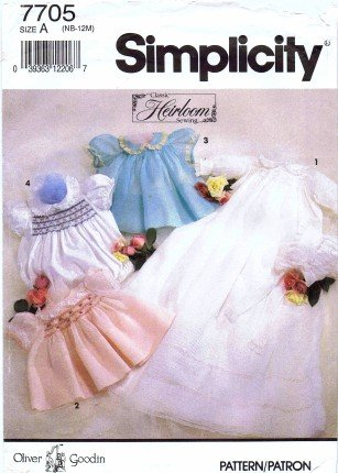 Simplicity 7705 Sewing Pattern Oliver Goodin Baby Smocked Christening Gown Dress Slip Romper Bonnet (Christening Gown Sewing Pattern compare prices)