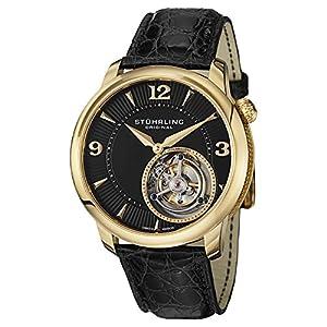 Stuhrling Original 390.333X51 Men's Dress Tourbillon Calendar Gold-Tone Leather Watch