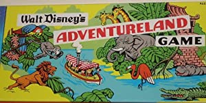 Walt Disney's ADVENTURELAND Game. Parker Brothers, East Longmeadow, MA. Walt Disney Parks and Resorts, Lake Buena Vista, FL. One of a set of four games that includes MONORAIL, RIVERBOAT, FANTASYLAND, and ADVENTURELAND. Sold only at Walt Disney Park in Florida. Ages 6+. 2-4 Players.