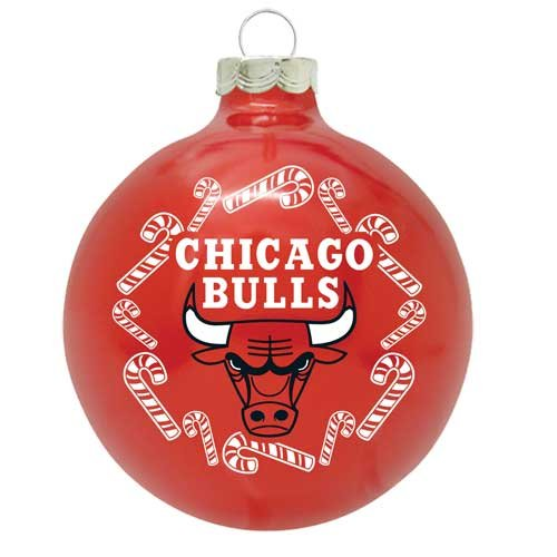 Chicago Bulls NBA Candy Cane Traditional Glass Ball Christmas Ornament- 2 3/4″