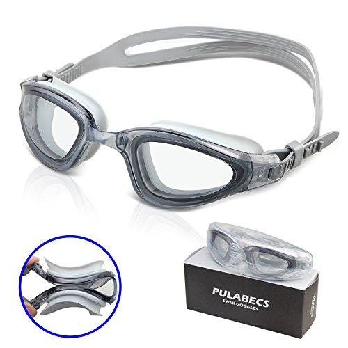Pulabecs Swim Goggles Swimming Glasses With Anti-Fog UV Clear Lenses For Man And Women PGA0326 (gray)
