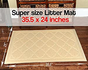 Easyology Premium Cat Litter Mat - XL Super Size - Extra Large Scatter Control Kitty Litter Mats for Cats Tracking Litter Out of Their Box - Soft to Paws- Elegant for Your Home- (Patent Pending)