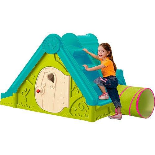 Spielhaus Kinderspielhaus mit Rutsche und Tunnel 3in1 für drinnen und Draußen Gartenhaus Kinderhaus Kinder Spiel Haus Gartenhaus DF100 bestellen