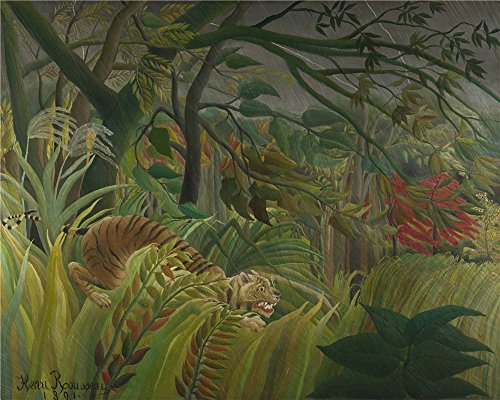 Oil painting 'Henri Rousseau Surprised ' printing on Perfect effect canvas , 10 x 13 inch / 25 x 32 cm ,the best Powder Room artwork and Home decor and Gifts is this Vivid Art Decorative Prints on Canvas