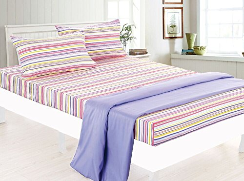 Bed Sheet Bedding Set, Beautiful Children Prints for Boys / Girls Kids & Teens, Twin (Single) Size, Pink & Purple Stripes with Coordinating Lavender Flat Sheet - Clara Clark (Child Bed Sheets compare prices)