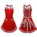 Hyzrz Cute Red Cotton Flirty Womens Aprons Fashion for Girls Vintage Cooking Retro Apron with Pockets Special