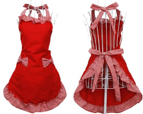 Hyzrz Cute Red Cotton Flirty Womens Aprons Fashion for Girls Vintage Cooking Retro Apron with Pockets Special 0