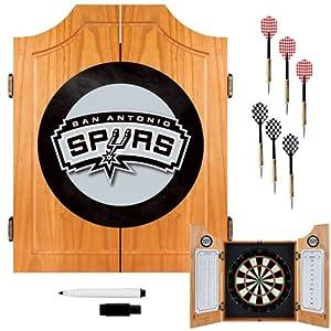 NBA San Antonio Spurs Wood Dart Cabinet Set by TRADEMARK GAMES