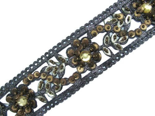 3 YARD CUT-WORK BEADED STONE TRIM GARY RIBBON SEQUINS BORDER LACE CRAFT SEWING