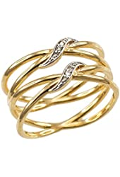 "Ladies' 10k Yellow Gold Diamond-Accented Double ""X"" Criss-Cross Long Ring"