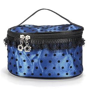 Pro Portable Lace Trim Dot Pattern Mirror Cosmetic Makeup Hand Case Bag (deep blue)