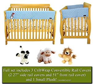 "CribWrap Crib Wrap 3PC Rail Cover Set By Trend Lab - 1- 51"" Front Rail Cover & 2- 27"" Side Rail Covers & BONUS Plush, Cat in the Hat Blue Star Velour"