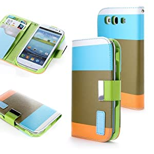 ATC Wallet PU Leather Case Card Holder Flip Case Cover for Samsung i9300 Galaxy S3 III - Blue+Brown+Orange