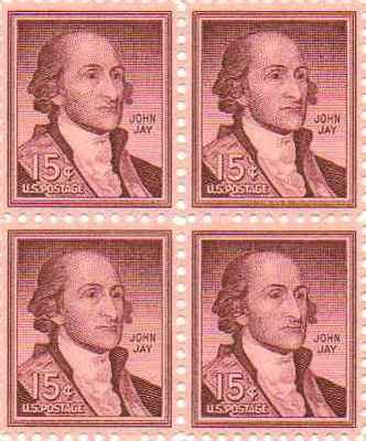 John Jay Set of 4 x 15 Cent US Postage Stamps NEW
