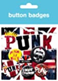 Posters: Punk Rock Badge Pack - Union Jack, 4 X 25mm & 2 X 32mm Badges (6 x 4 inches)