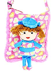 Tickles Pink Smiling Doll School Sling Bag For Kids Girls 30 Cm