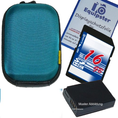 Canon Digital Ixus 125 HS Zubehör Set / Bundle / Sparpaket mit stylischer Hartschalentasche in tuerkis inklusive 16GB SDHC Speicherkarte Akku für NB-11L und Equipster Displayschutzfolie