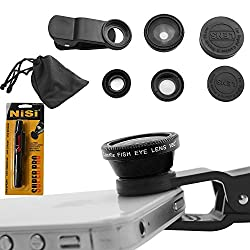 CamKix Universal 3-in-1 Camera Lens Kit for Smart Phones (iphone Galaxy HTC Motorola) iPad iPod touch Laptops/One Fish Eye Lens/One 2-in-1 Macro Lens and Wide Angle Lens/One Universal Clip/One Micro Fiber Carrying Bag with Retail packaging(Black) + Nisi Pro LensPen Lens Cleaner