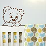 Peeping Bear Wall Transfer / Large Vinyl Decor / Stylish Interior Decal nin16