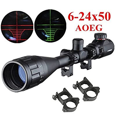 Beileshi 6-24X50mm AOEG Optics Hunting Rifle Scope Red/Green Illuminated Mil-dot Reticle Crosshair Gun Scope With Free Mounts from Beileshi