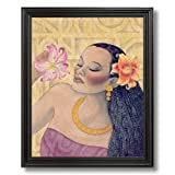 African American Black Flowers And Girl # 2 Contemporary Picture Black Framed Art Print