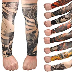 Aadishwar Creations Any 6 Pair New Fashion Temporary Fake Slip on Tattoo Arm Sleeves Body Art Stockings Accessories