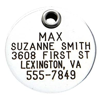Pet ID Tag - Round - Custom engraved dog & cat ID tags. Pet safety tag has reflective coating and is available in plastic, stainless steel and brass.