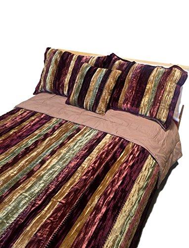 CozyLinen Reversible Velvet Stripe Hand-Stitched Quilt, King