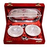 Indyhaat Two Bowl Set With Tray And Spoons(Silver White, 8x4x1.5 Inch)