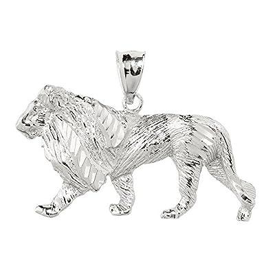 Men's 14k White Gold Lion Necklace Pendant