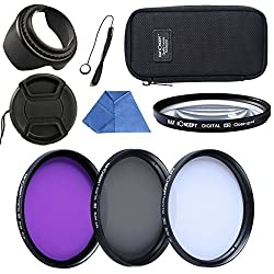 K&F Concept Slim 58MM UV+CPL+FLD+Close up Macro Filter +4 Accessory Kit + Exclusive Velcro Design Pouch for DSLR Camera Canon Nikon
