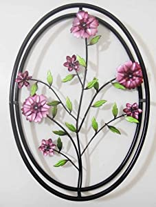 wall art metal wall art lilac purple flowers in 3d oval frame kitchen home. Black Bedroom Furniture Sets. Home Design Ideas