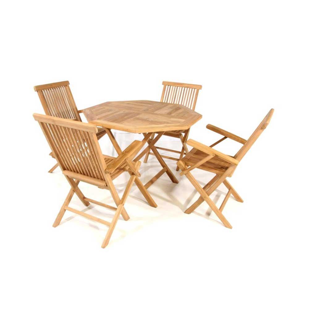 Tischgruppe in Teakfarben online kaufen (5-teilig) Pharao24