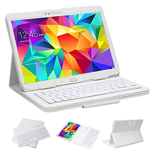 Supernight Ultra Thin Keyboard Case Cover Detachable Bluetooth Keyboard + Stand Leather Case For Samsung Galaxy Tab 4 10.1-Inch Tablet Sm-T530 / Sm-T535 - White Color