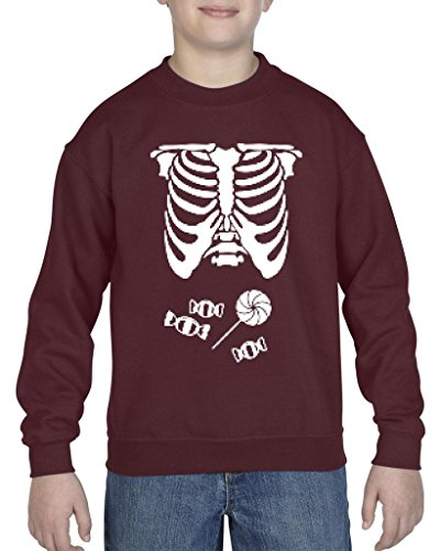[Artix Kids Hallowen Costume Skeleton with Candies Halloween Fashion Children Gifts Crewneck For Girls - Boys Youth Kids X-Small Claret] (Hallowen Contact Lenses)