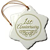 3dRose orn_154443_1 1st Anniversary Gift Gold Text for Celebrating Wedding Anniversaries Snowflake Ornament, 3-Inch, Porcelain