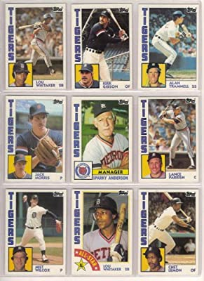 Detroit Tigers 1984 Topps Baseball Team Set (World Series Champions) (Kirk Gibson) (Alan Trammell) (Lou Whitaker) (Jack Morris) (Darrell Evans) (Sparky Anderson) (Milt Wilcox) (Lance Parrish)