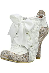 Irregular Choice Abigail's Third Party White Brown Fabric Womens Shoes Boots