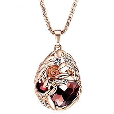 The Starry Night Rose Gold Color Red Crystal Flower Pendant Necklace For Fashion Females