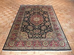 6 x 9 HAND KNOTTED BLACK AGRA ORIENTAL RUG G176