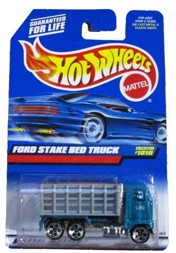 Mattel Hot Wheels 1999 1:64 Scale Gray & Green Ford Stake bed Truck Die Cast Car Collector #1010 - 1